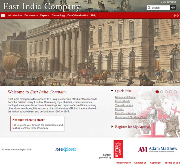 East India Company homepage.